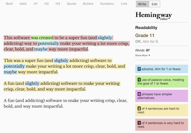 Hemingway App Blog Tool
