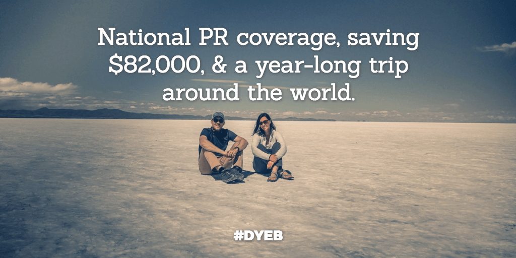 "How to ""stumble"" into national PR coverage, save $82k from side hustles, & travel the world for a year – Round the World Couple"