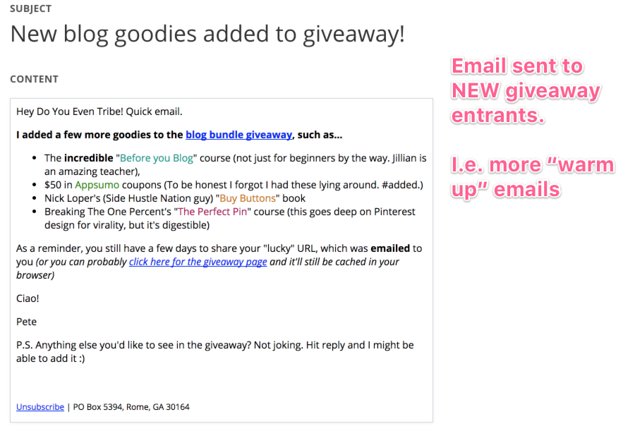 Blog Giveaway: How to Use One to Grow Your Email List  [case