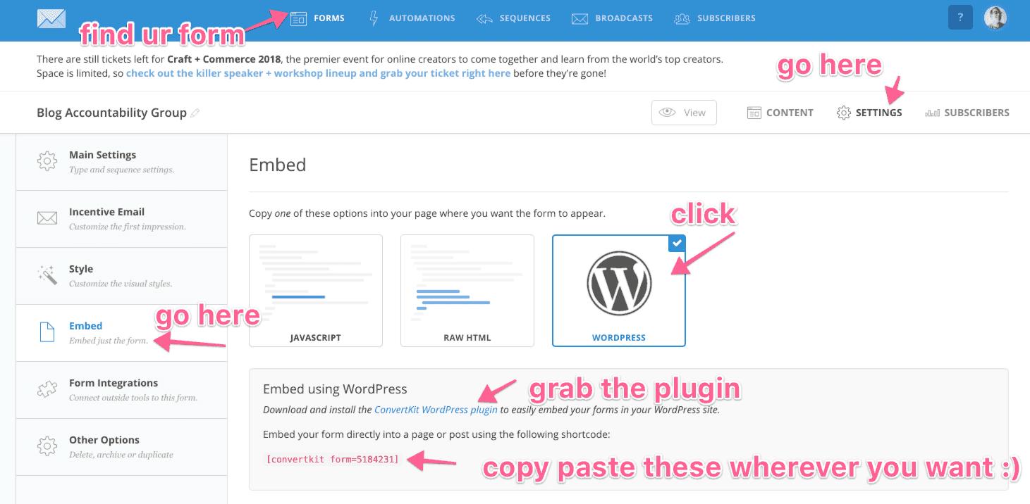 convertkit wordpress plugin