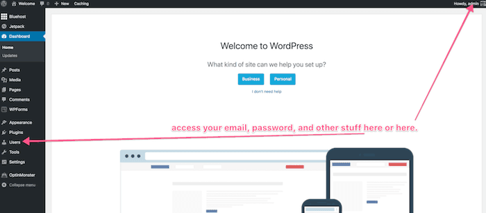 change wordpress password