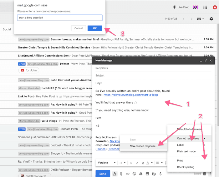 gmail canned response settings