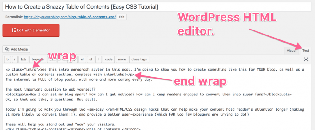 wordpress html editor button