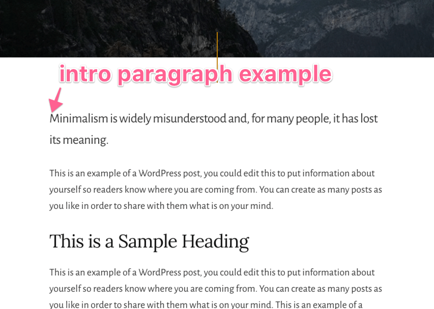 intro paragraph style