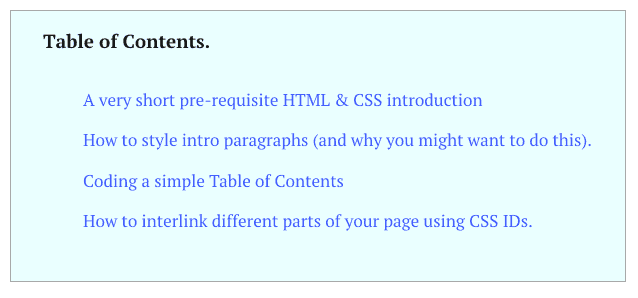 blog table of contents html css