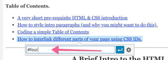 page interlink css id