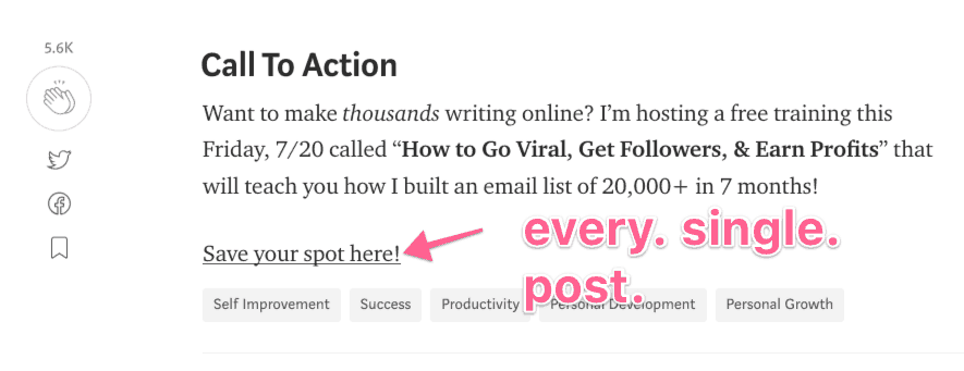 medium email opt-in call to action
