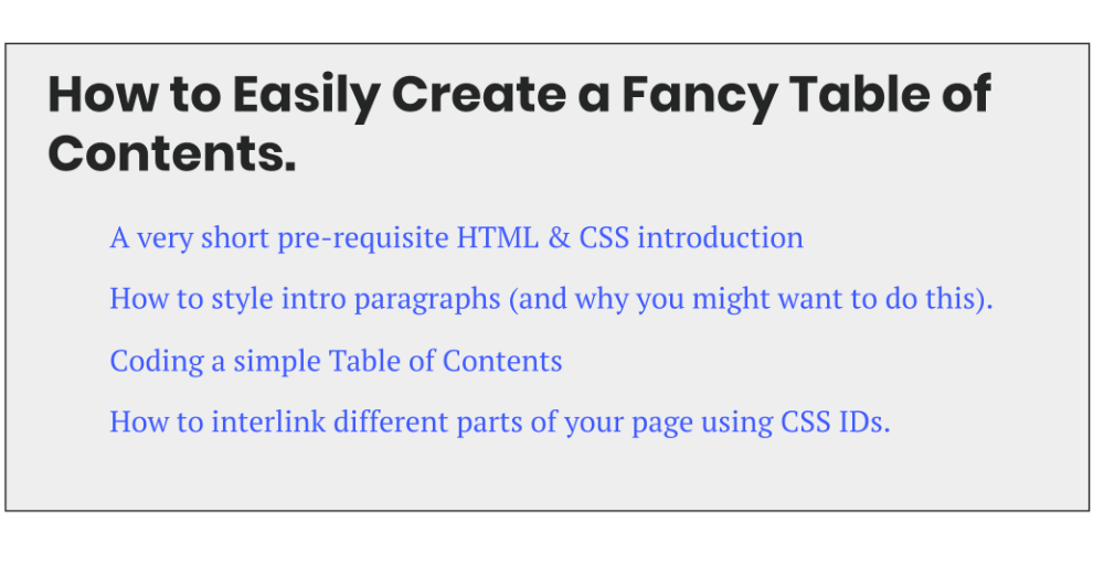 How to Create a Snazzy Table of Contents [Easy CSS Tutorial]