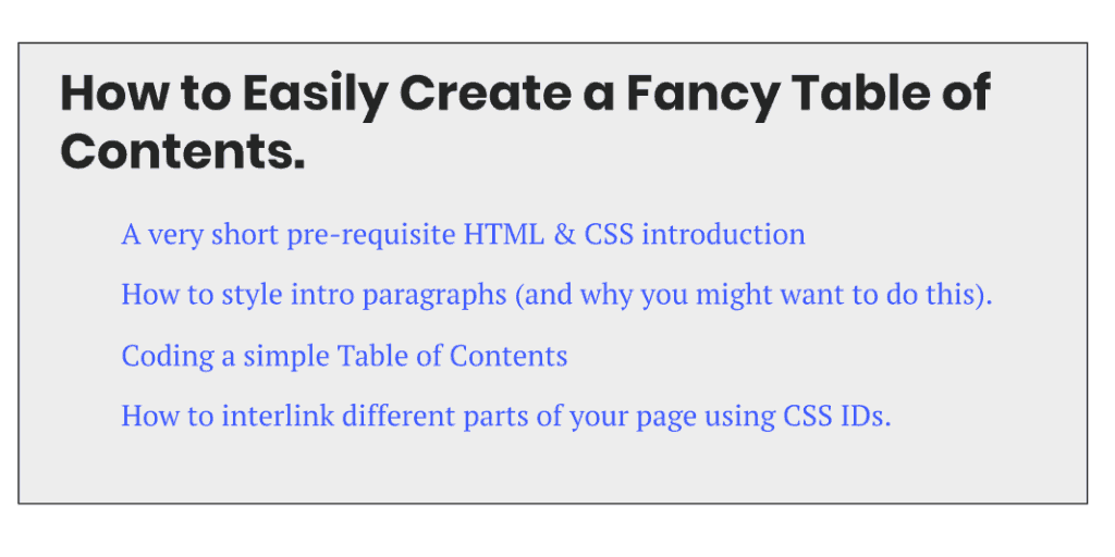 create table of contents css blog