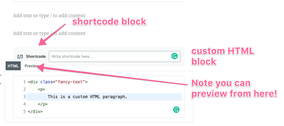 shortcode and html blocks gutenberg