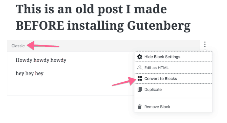 converting old content to gutenberg