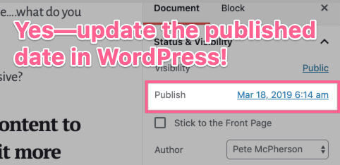 update wordpress publish date