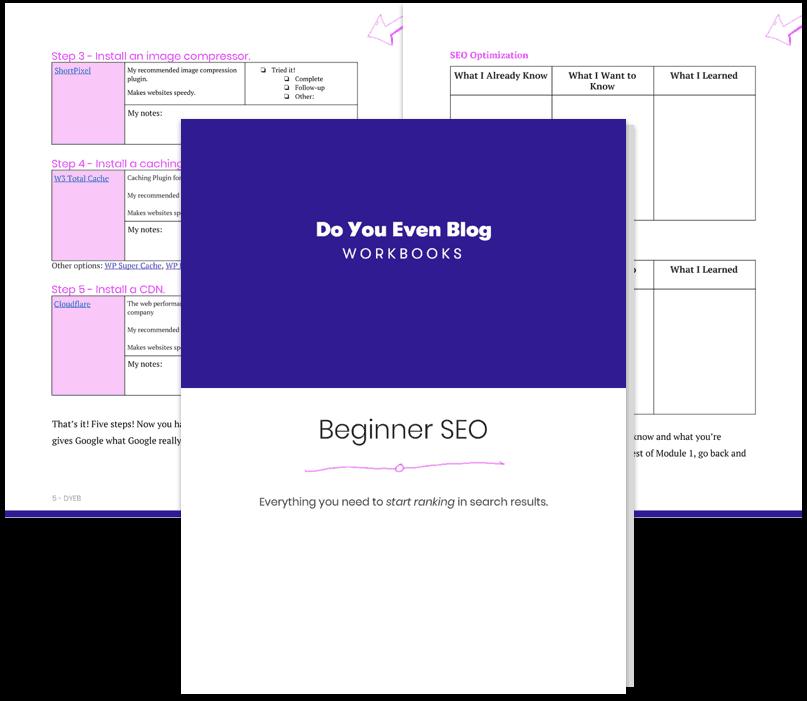 beginner SEO workbook