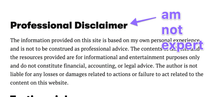 professional disclaimer